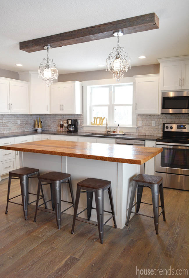 Reclaimed materials add interest to a kitchen design