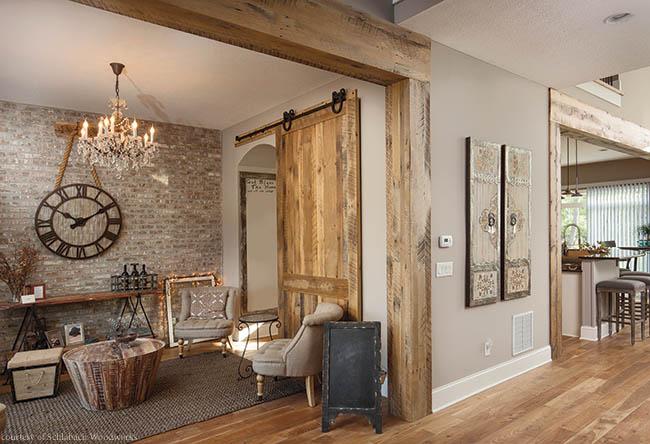 Sliding barn door made of reclaimed wood