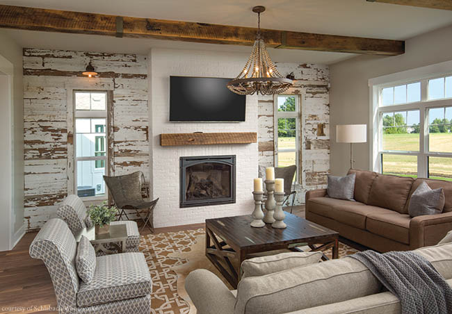 Living room walls made of reclaimed wood