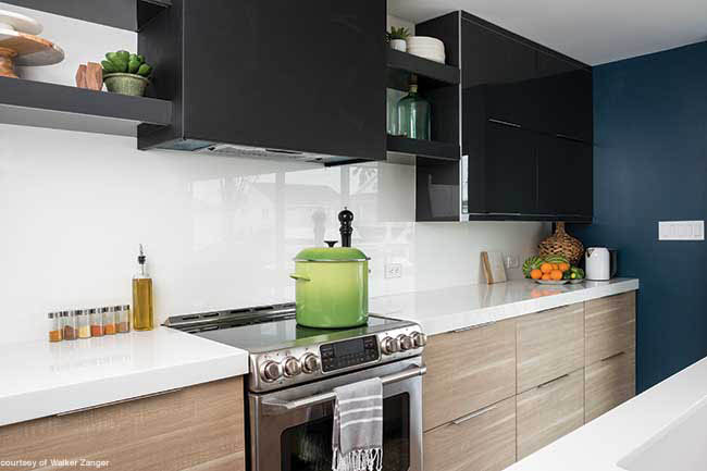 Maintenance-free glass backsplash