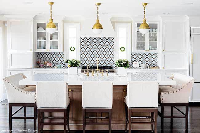 Playful backsplash pops in a white kitchen