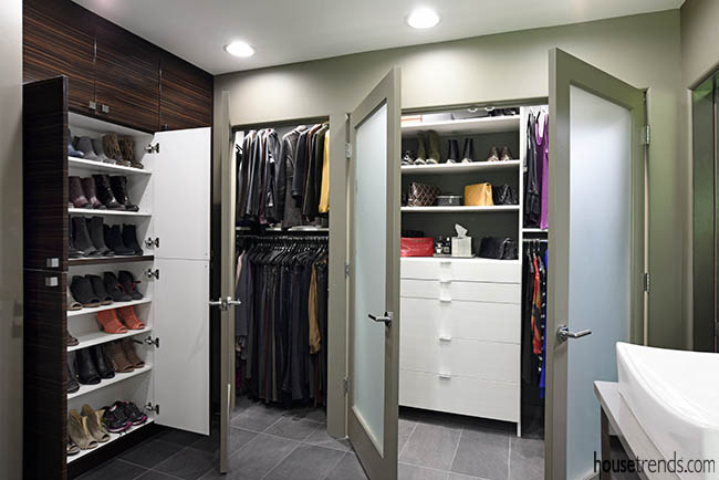 Closet inside a master bathroom