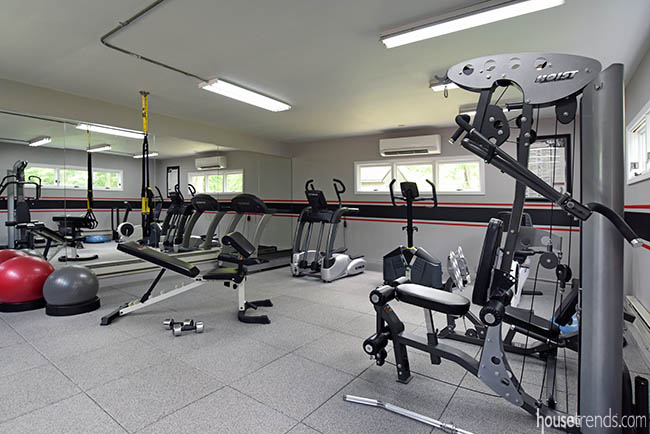 Fitness center just steps from a home