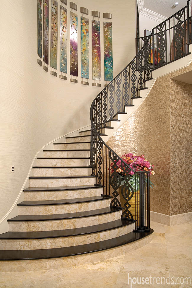 Decorative tile adds interest to a staircase