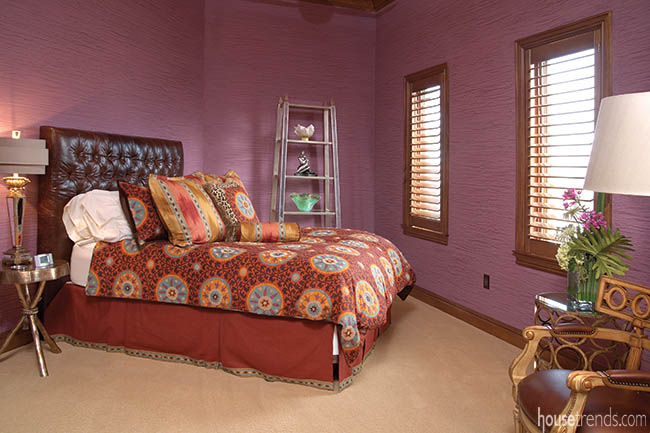 Colors add interest to a bedroom design
