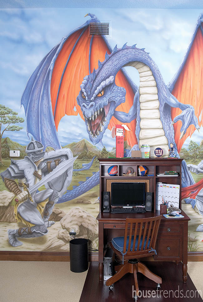 Wall mural livens up a kid's bedroom