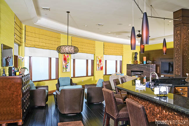 Light fixtures dazzle in a colorful home