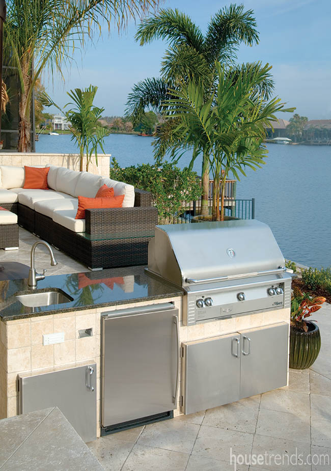 Outdoor kitchen with a convenient location