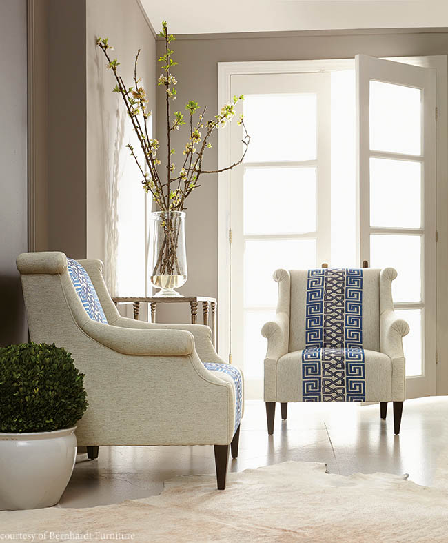 Fabric adds excitement to wingback chairs