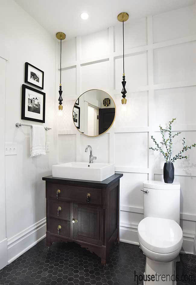 Wooden details add dimension to a powder room wall