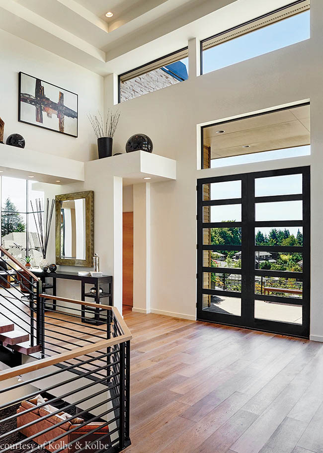 Entry door with a dramatic design