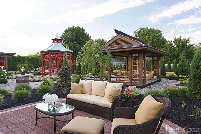 Outdoor furniture offers a cozy gathering space