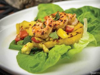 Grilled shrimp, pineapple and fresh fruit salsa