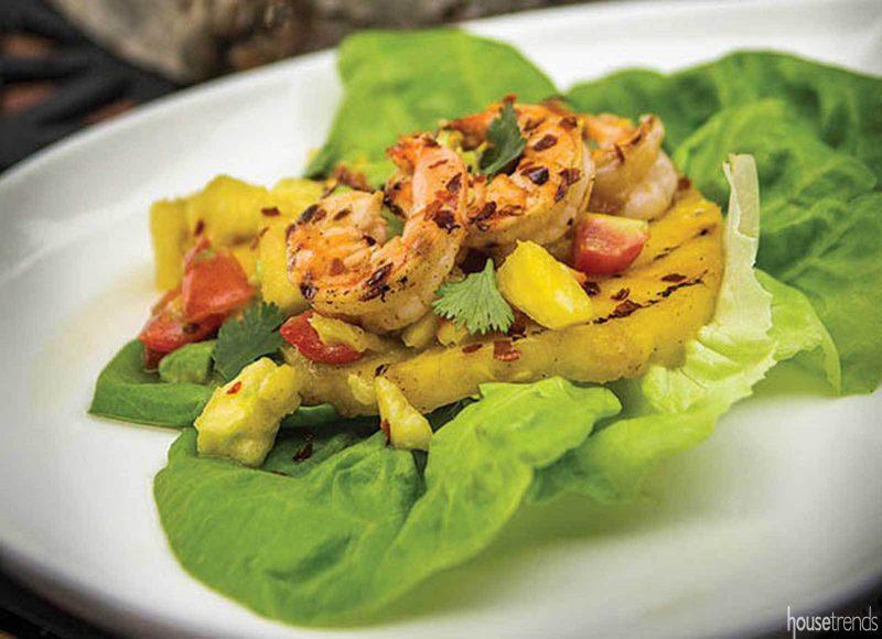 Grilled shrimp, pineapple and fresh fruit salsa