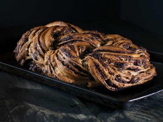 Woven chocolate cinnamon bread